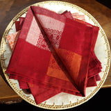 Bright Paisley Pattern Hemstitched Linen Napkin inside out view