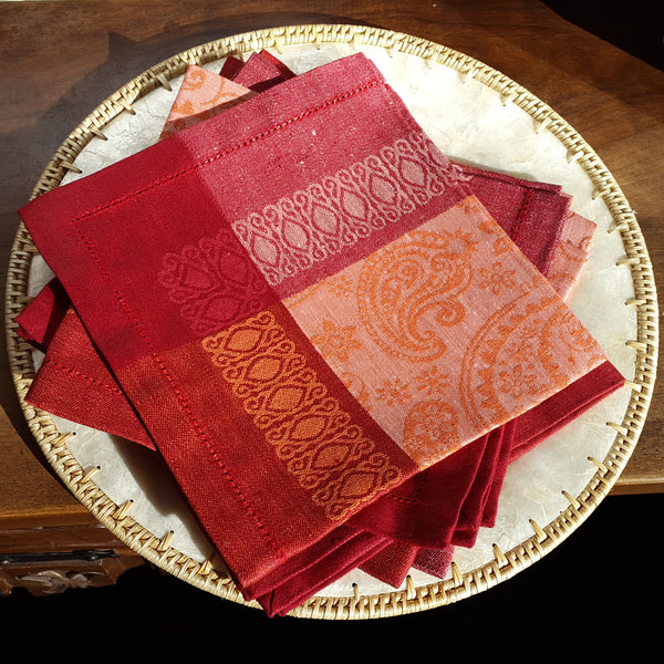 Paisley Linen Napkins Hemstitched Bright Red