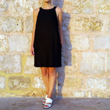 Vestales Round Neck Halter Linen Dress Black Edelino