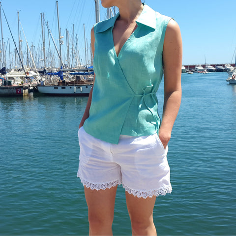 Sleeveless Linen Shirt Aquamarine Vestales