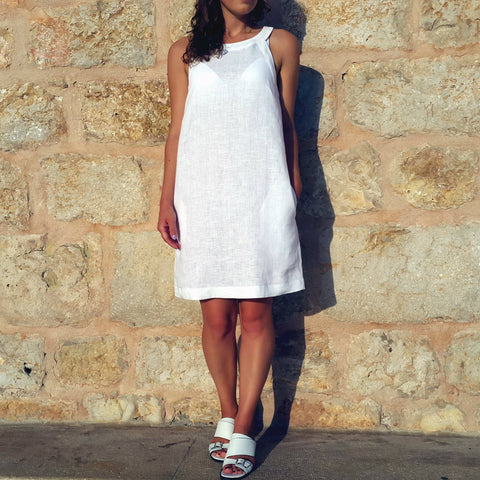 Vestales Round Neck Halter Linen Dress White Edelino