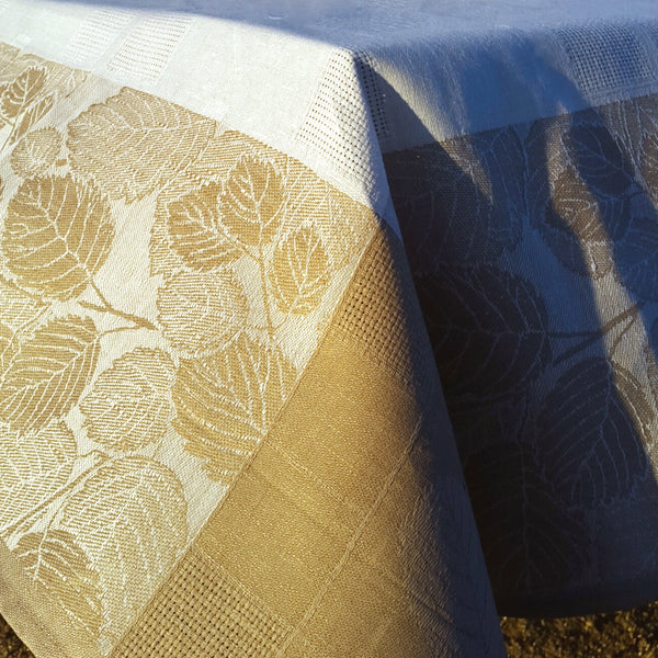 White Linen Tablecloth Autumn Leaves Patterned Light Brown Borders Edelino