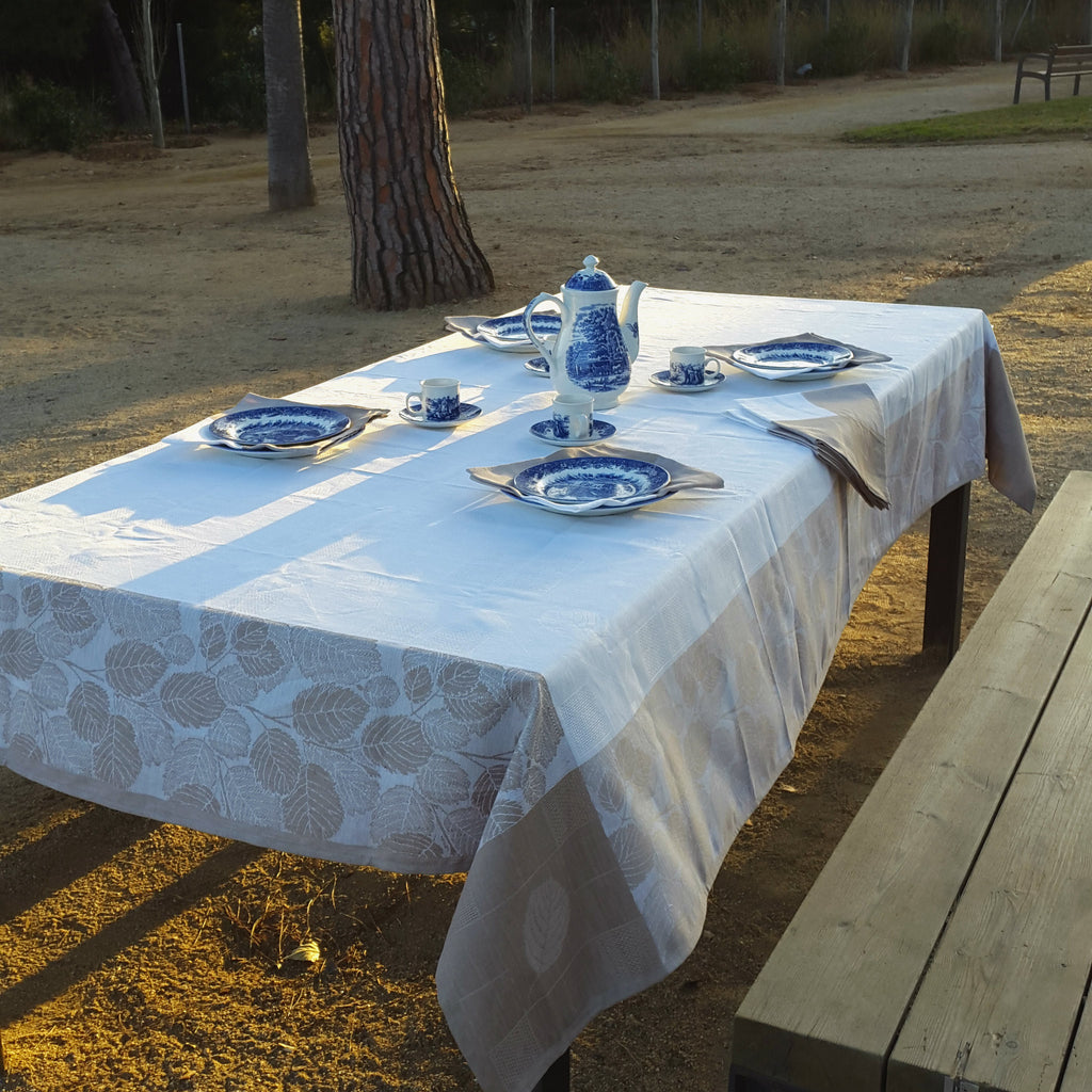 ... White Linen Tablecloth Autumn Leaves Patterned Light Brown Borders  Edelino ...