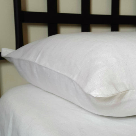 White Linen Pillow Case Corner Edelino