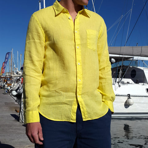 Long Sleeve Linen Shirt Yellow 120% Lino