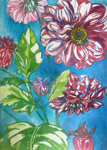Dahlia, Colour Woodblock Print in the Japanese technique, £155 framed