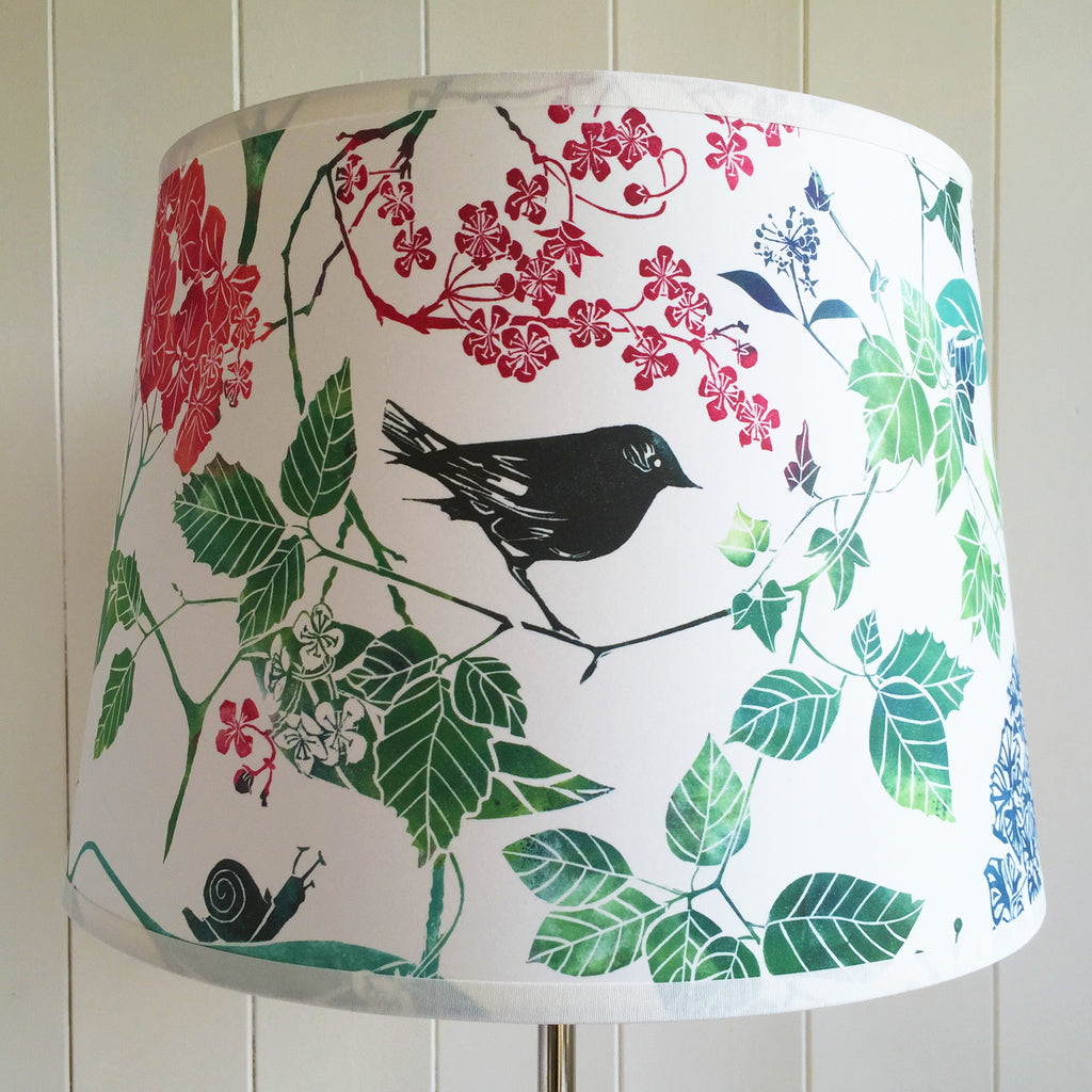 Linocut print lampshade with botanical design