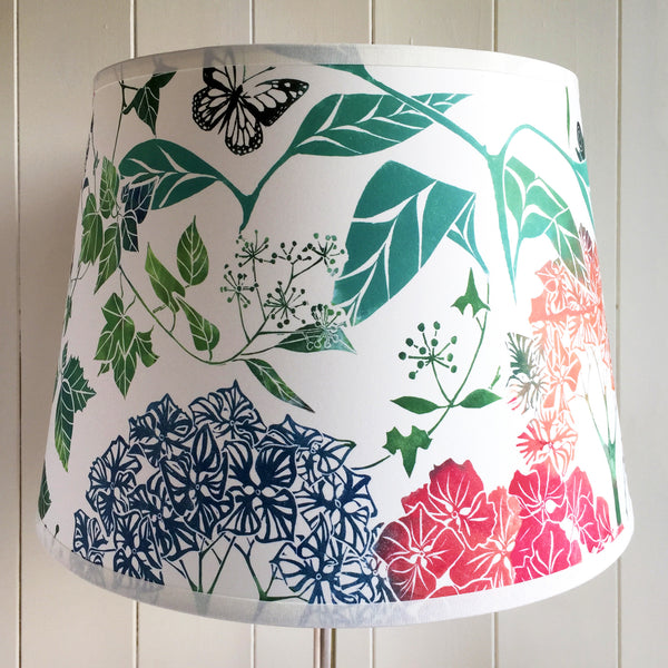 BIRD AND BLOSSOM PARCHMENT TABLE LAMPSHADE RED