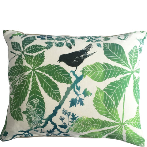Linocut printed design on linen cushion Horse Chestnut Leaves