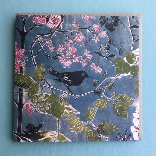 Bird and Blossom Greetings Card from Linocut print by Laura Sowerby