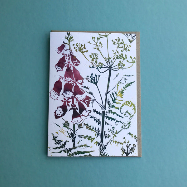 foxglove greetings card to buy online by Laura Sowerby