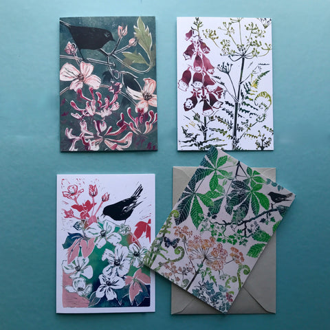 Set of 4 greetings cards from linocuts prints by Laura Sowerby