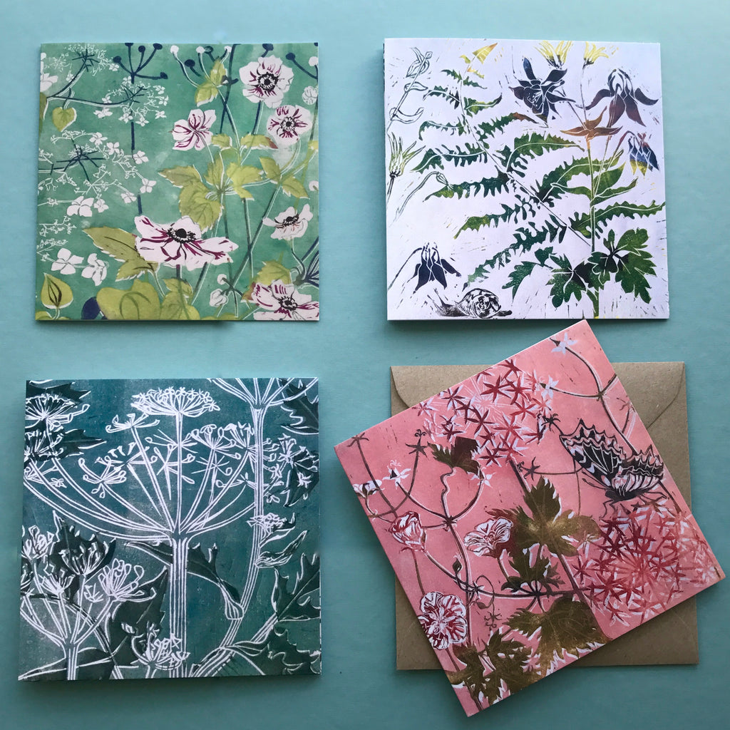 set of four botanical greetings cards from linocuts by Laura Sowerby