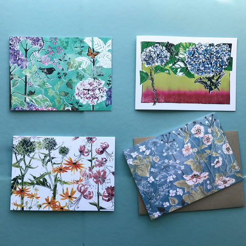 botanical linocut Greeting cards by Laura Sowerby available to order online