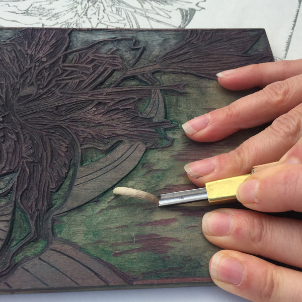 Mock Hanga woodblock carving by Laura Sowerby
