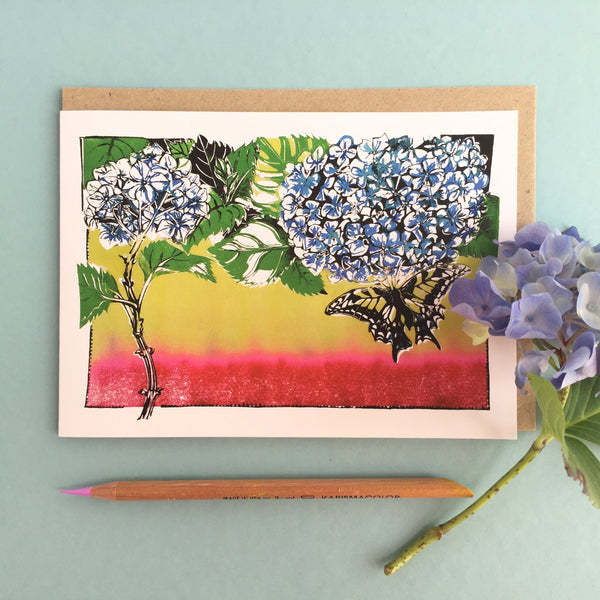 botanical linocut  Hydrangea card to buy online at Laura Sowerby