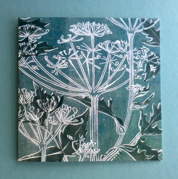 Cow parsley linocut greeting card available to buy online at Laura Sowerby