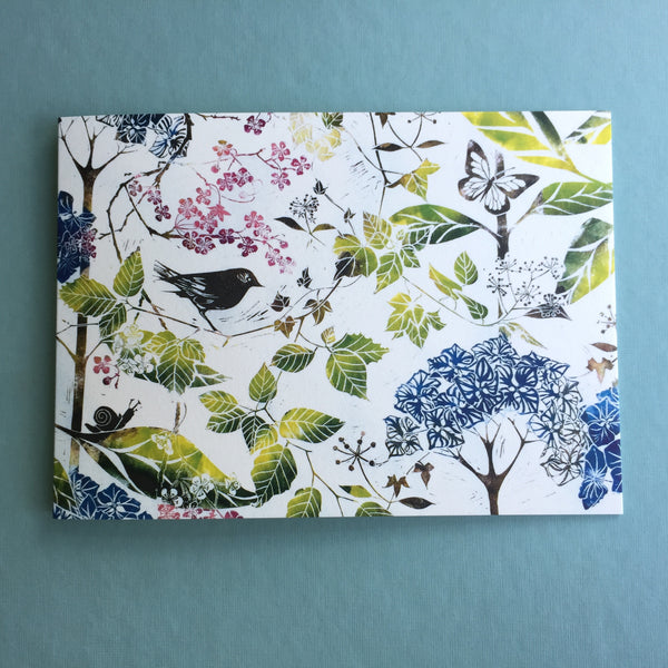 botanical linocut Bird and Blossom card to buy online at Laura Sowerby