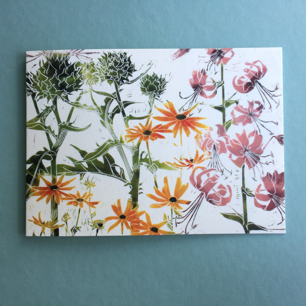 botanical linocut cards to buy online at Laura Sowerby