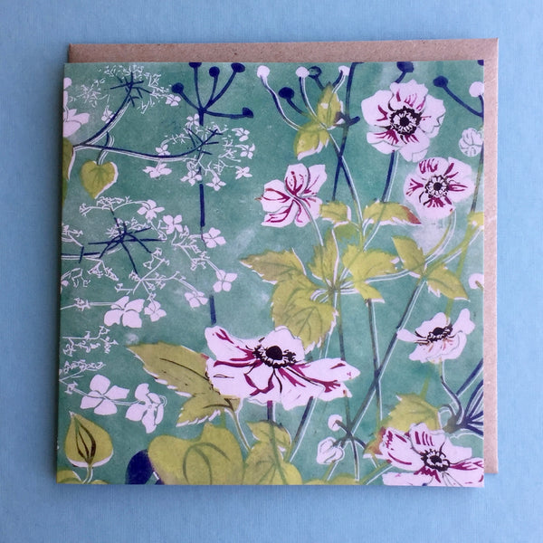 Windflowers Linocut design greetings card by Laura Sowerby