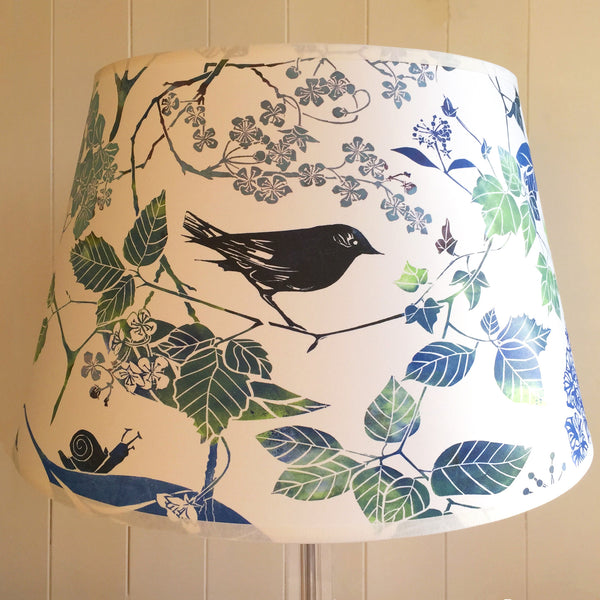 BIRD AND BLOSSOM BLUE PARCHMENT TABLE LAMPSHADE