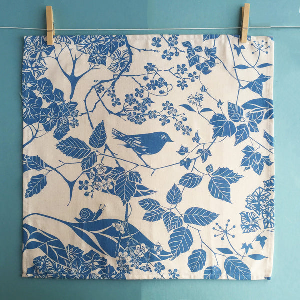 Linocut print napkin by Laura Sowerby
