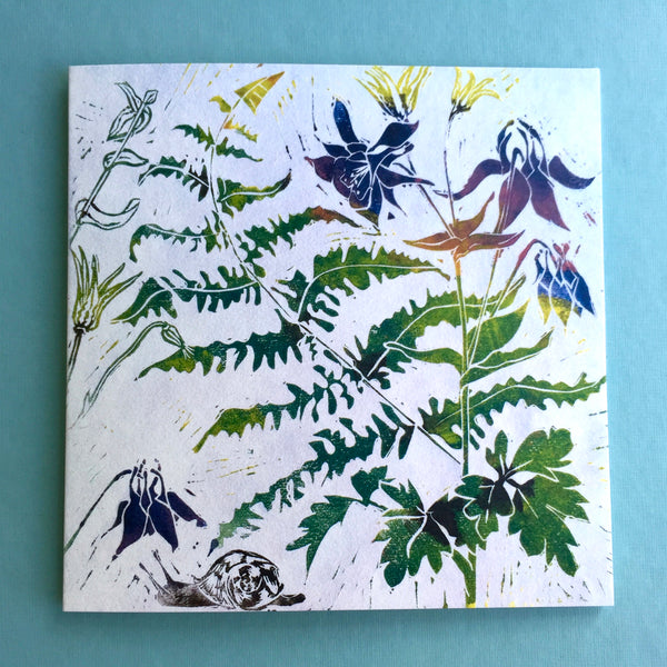 Aquilegia linocut greetings card by Laura Sowerby