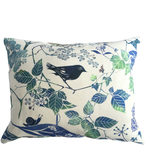 BLUE BIRD AND BLOSSOM CUSHION - PURE LINEN
