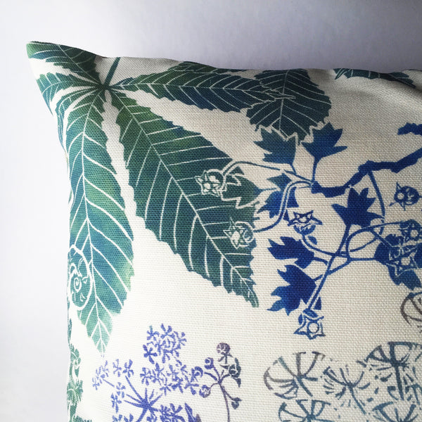 BLUE UMBELLS CUSHION - PURE LINEN