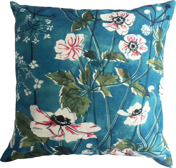 linen feather filled cushion designed by artist Laura Sowerby featuring Windflowers