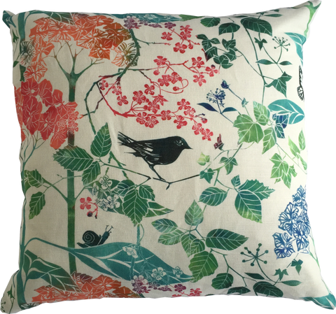BIRD AND BLOSSOM CUSHION - PURE LINEN