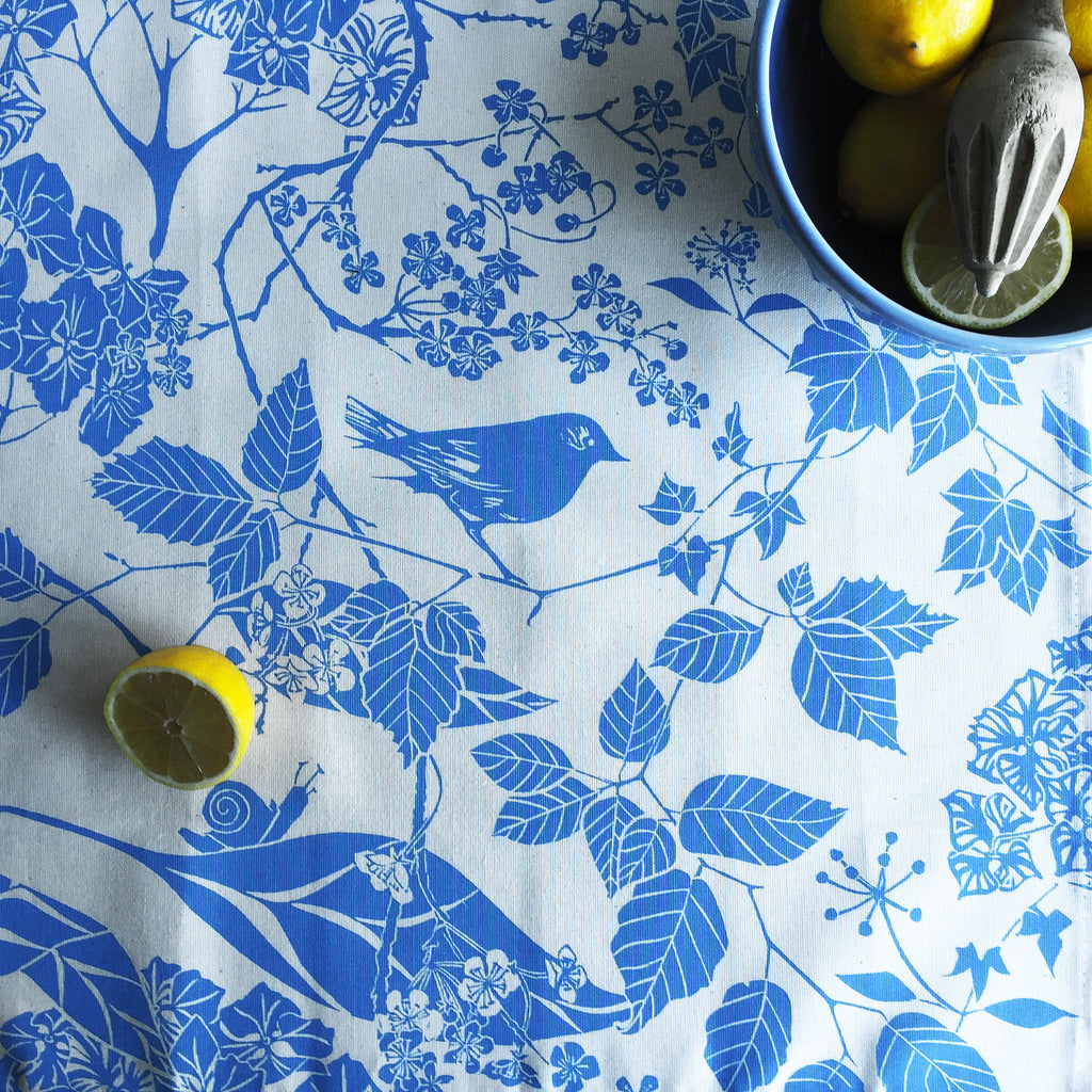 Linocut print design Napkin by Laura Sowerby