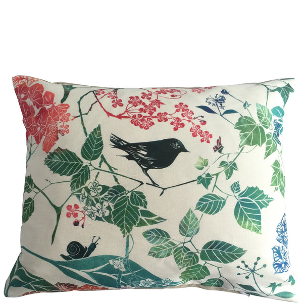 SQUARE BIRD AND BLOSSOM CUSHION - PURE LINEN