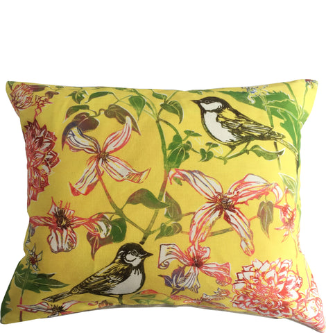 linen cushion linocut design birds floral
