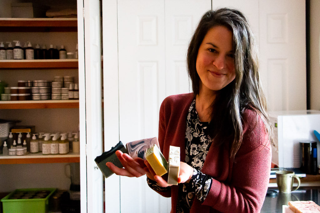 Amélie Roy of Ameoli, a small company that creates and manufactures handcrafted natural and organic body products, made with love and respect. of the environment.