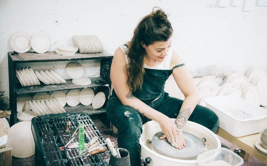 Marie-Eve Dompierre - Ceramics - Marie-Eve Dompierre at work in her studio.