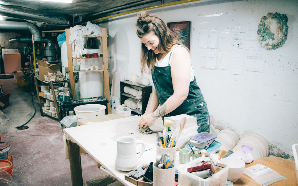 Marie-Eve Dompierre - Ceramics - Marie-Eve at work in her ceramics studio.