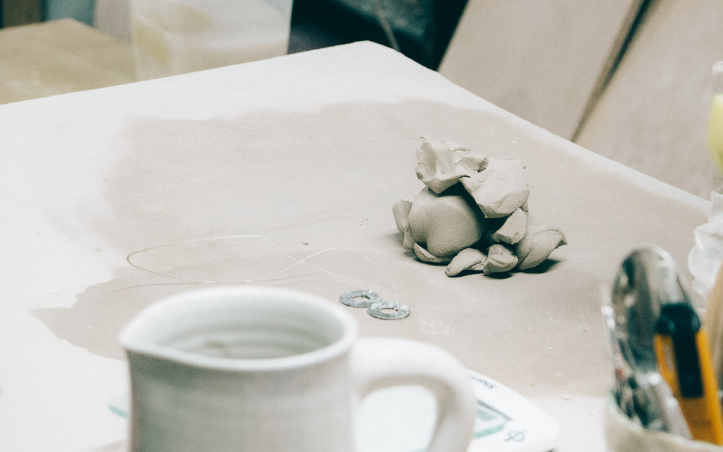 Marie-Eve Dompierre - Ceramics - View of some clay in the Marie-Eve Dompierre's workshop.