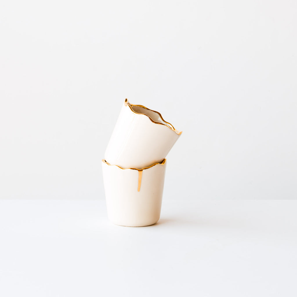 Marie-Eve Dompierre - Ceramics - Porcelain Cup With Gold Rim