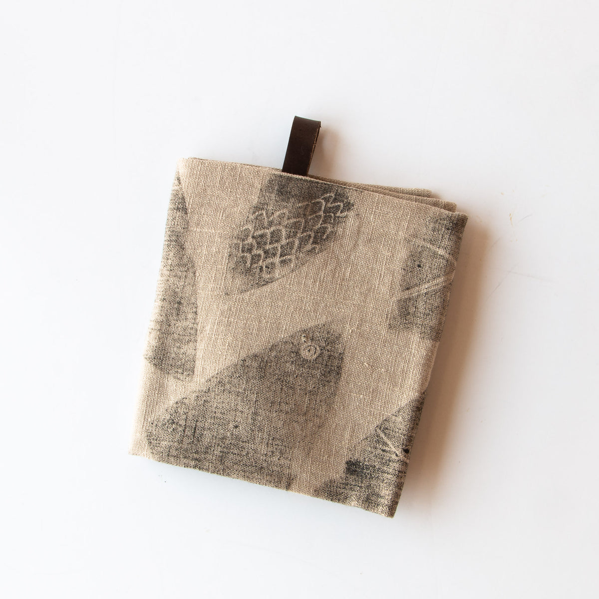 Gone Fishing - Folded Handprinted 100% Linen Dish Cloth / Hand Towel - Sold by Chic & Basta
