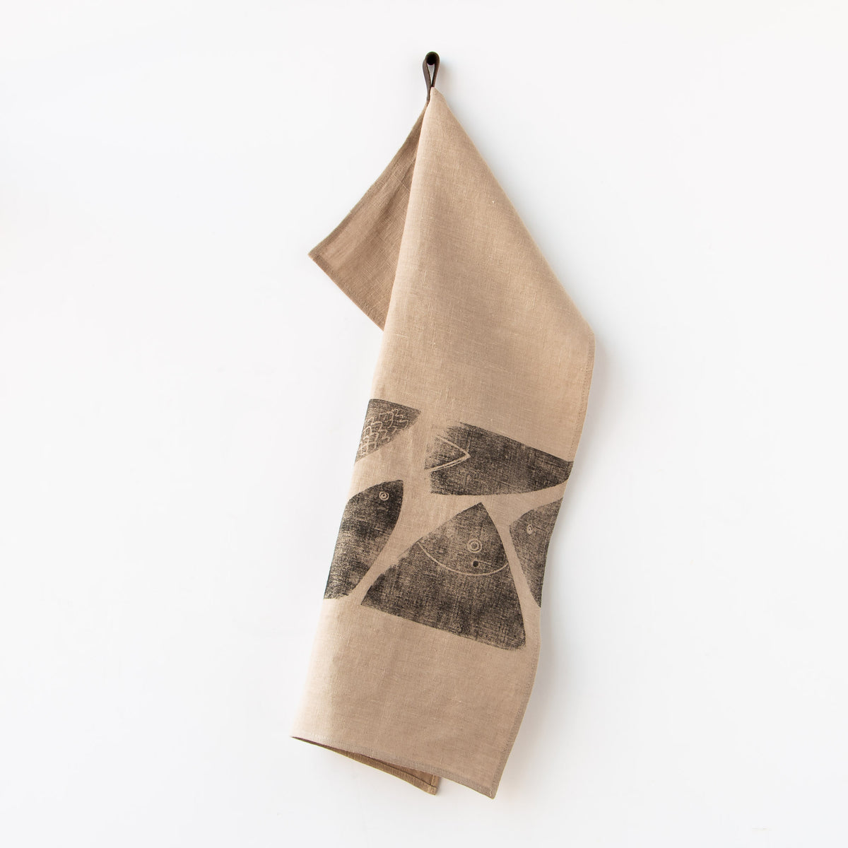 Gone Fishing - Handprinted 100% Linen Dish Cloth / Hand Towel - Sold by Chic & Basta