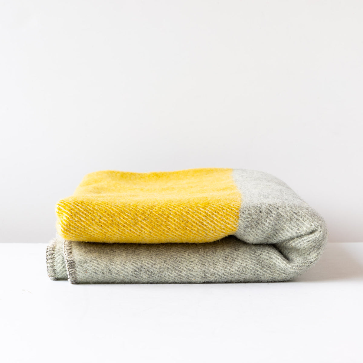 Yellow & Grey - Large 100% Virgin Wool Throw - East Friesian - Sold by Chic & Basta