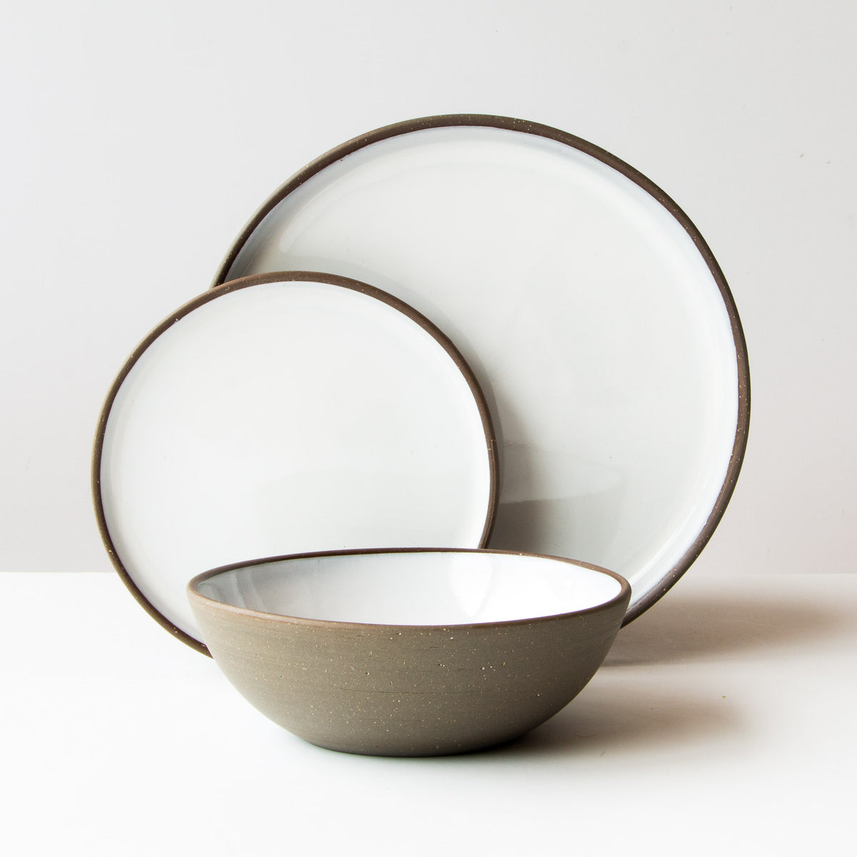 Grey Clay 3-Piece Handmade Pottery Dinnerware Set - Sold by Chic & Basta