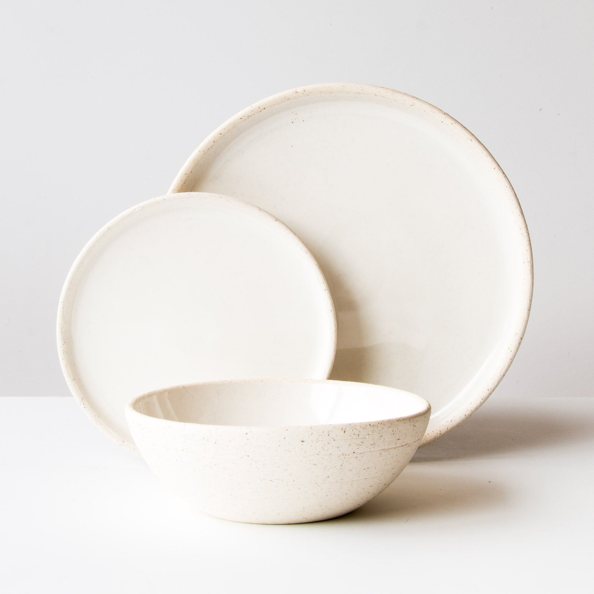 Oatmeal Clay 3-Piece Handmade Pottery Dinnerware Set - Sold by Chic & Basta