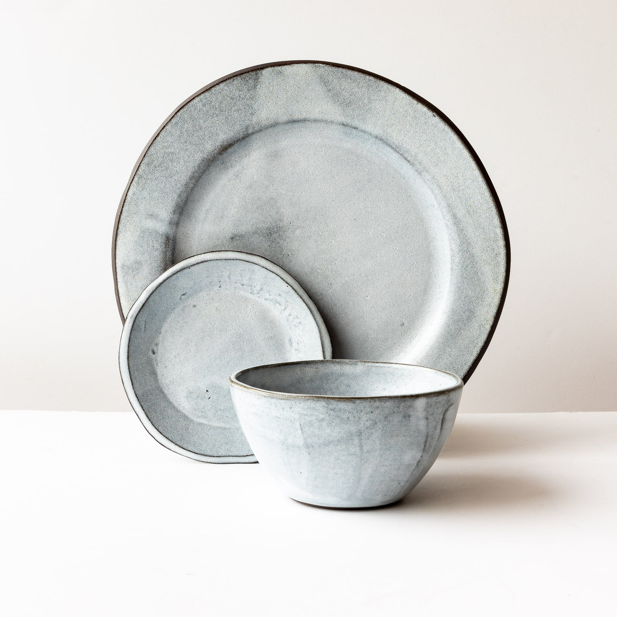 Handmade 3-Piece Dinnerware Set - In Grey & White Stoneware - Sold by Chic & Basta