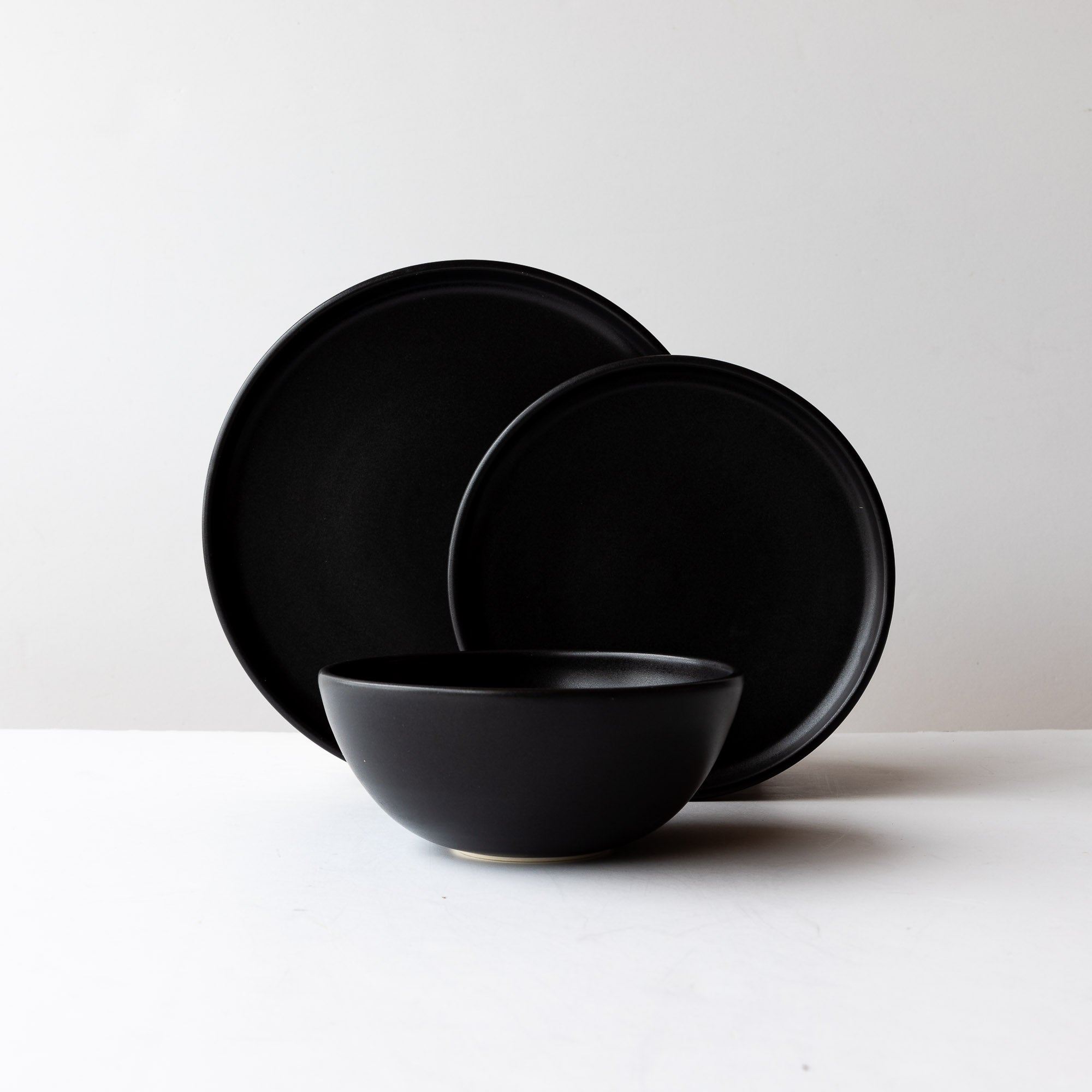 Handcrafted 3 Piece Dinnerware Set in Black Satin Porcelain - Sold by Chic & Basta