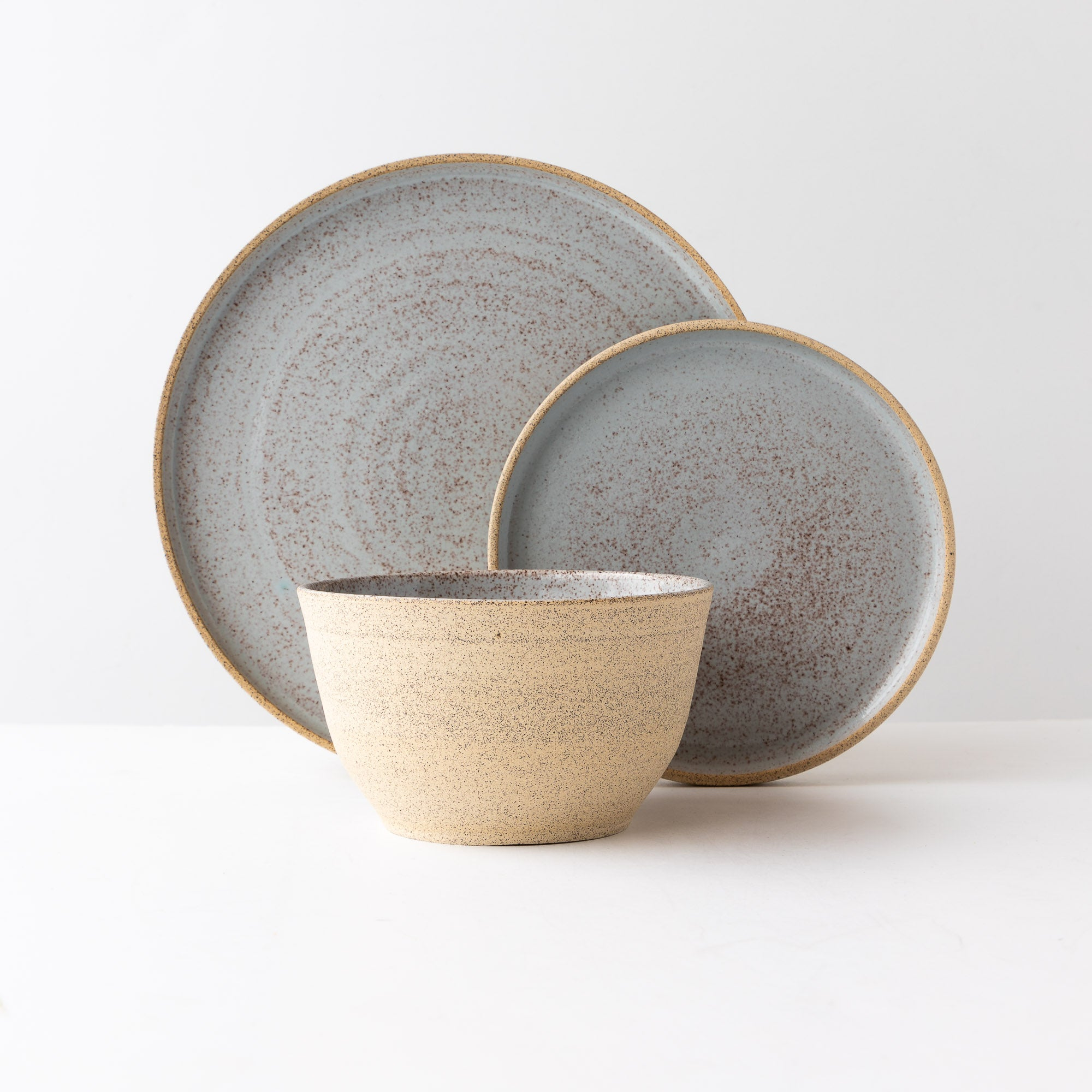 Handmade 3-Piece Dinnerware Set in Speckled Stoneware - Sold by Chic & Basta