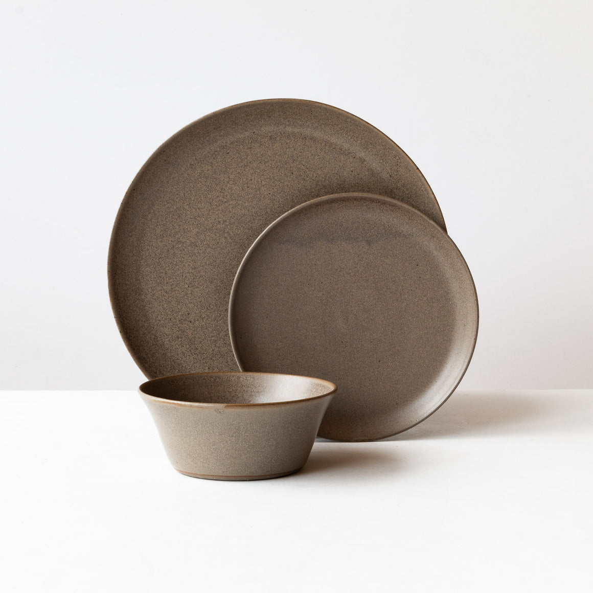 Matte Black - Handmade 3-Piece Grey Stoneware Dinnerware Set - Sold by Chic & Basta