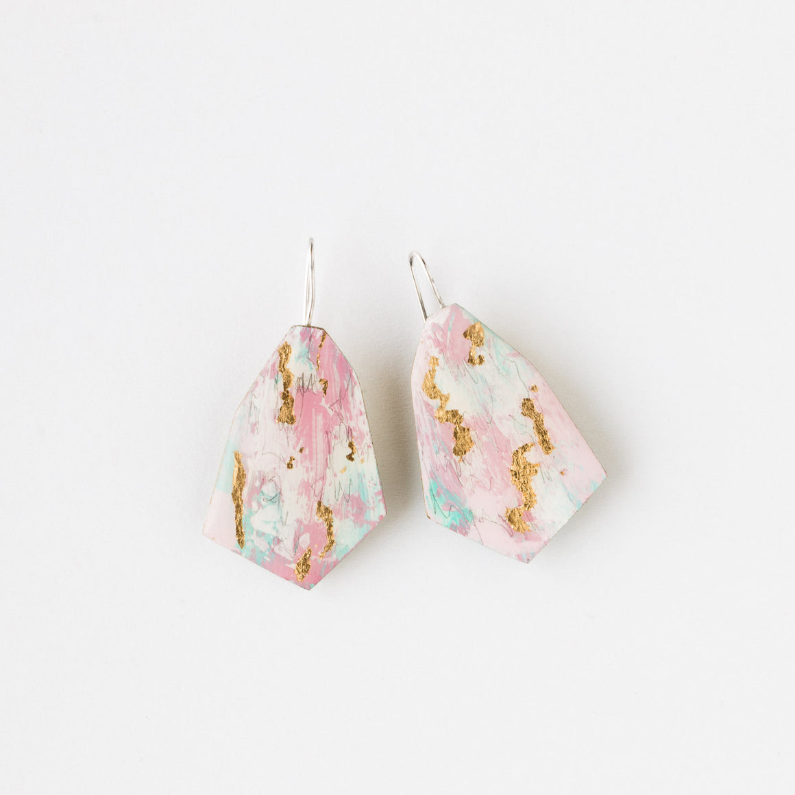542 - Pink, Blue & Gold Painted Earrings - Handmade & Contemporary - Sold by Chic & Basta