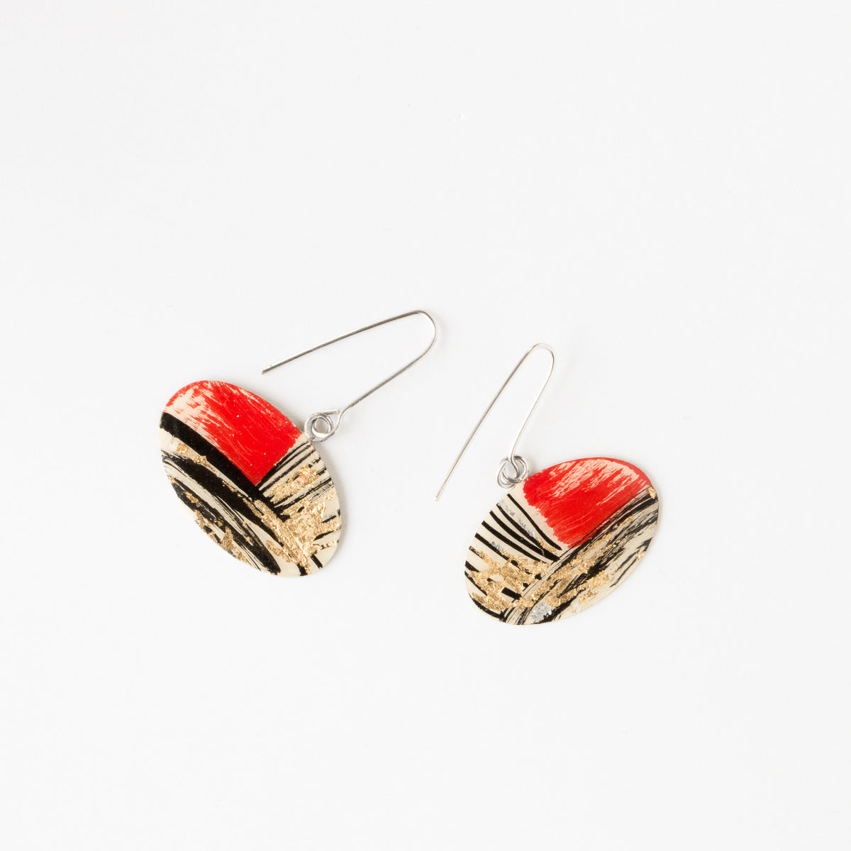 635-2 - Oval Handmade Earrings Painted on Brass - Sold by Chic & Basta